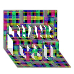 Doodle Pattern Freedom Black Thank You 3d Greeting Card (7x5)