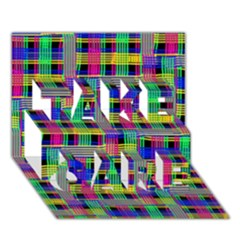 Doodle Pattern Freedom Black TAKE CARE 3D Greeting Card (7x5)