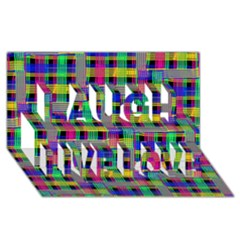 Doodle Pattern Freedom Black Laugh Live Love 3D Greeting Card (8x4)