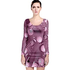 Doodle Fun Pink Long Sleeve Bodycon Dresses