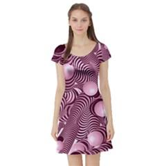 Doodle Fun Pink Short Sleeve Skater Dresses
