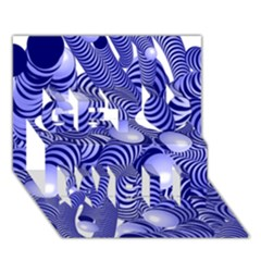Doodle Fun Blue Get Well 3d Greeting Card (7x5)