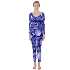Doodle Fun Blue Long Sleeve Catsuit