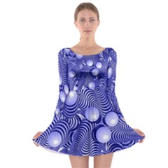 Doodle Fun Blue Long Sleeve Skater Dress