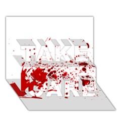 Blood Splatter 1 TAKE CARE 3D Greeting Card (7x5)