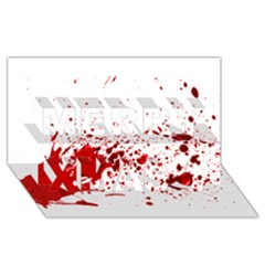 Blood Splatter 1 Merry Xmas 3D Greeting Card (8x4)