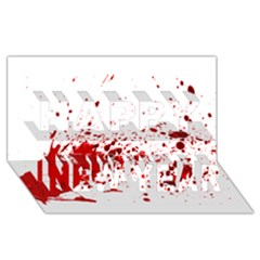 Blood Splatter 1 Happy New Year 3D Greeting Card (8x4)