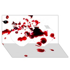 Blood Splatter 2 Twin Hearts 3D Greeting Card (8x4)