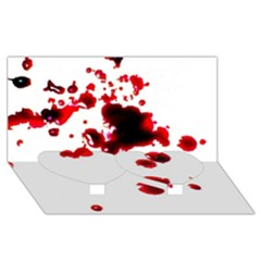 Blood Splatter 2 Twin Heart Bottom 3D Greeting Card (8x4)