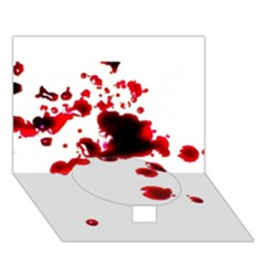 Blood Splatter 2 Circle Bottom 3D Greeting Card (7x5)