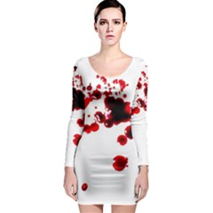 Blood Splatter 2 Long Sleeve Bodycon Dresses