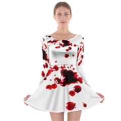 Blood Splatter 2 Long Sleeve Skater Dress