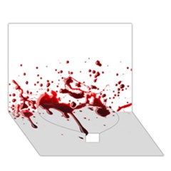 Blood Splatter 3 Heart Bottom 3D Greeting Card (7x5)