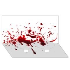 Blood Splatter 3 Twin Heart Bottom 3D Greeting Card (8x4)