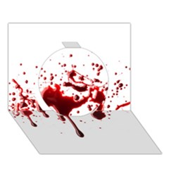 Blood Splatter 3 Circle 3D Greeting Card (7x5)