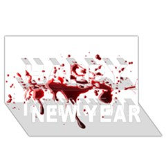 Blood Splatter 3 Happy New Year 3D Greeting Card (8x4)