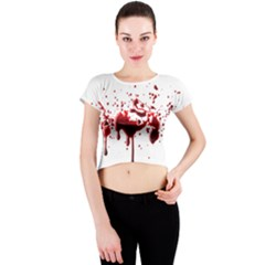 Blood Splatter 3 Crew Neck Crop Top