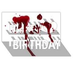 Blood Splatter 4 Happy Birthday 3D Greeting Card (8x4)