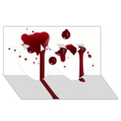 Blood Splatter 4 Twin Hearts 3D Greeting Card (8x4)