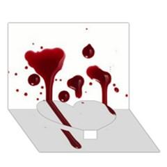 Blood Splatter 4 Heart Bottom 3D Greeting Card (7x5)