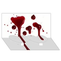 Blood Splatter 4 Twin Heart Bottom 3D Greeting Card (8x4)