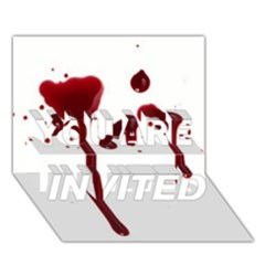 Blood Splatter 4 YOU ARE INVITED 3D Greeting Card (7x5)