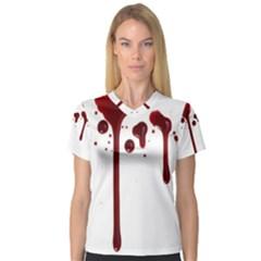 Blood Splatter 4 Women s V-Neck Sport Mesh Tee