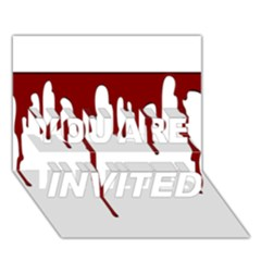 Blood Splatter 5 YOU ARE INVITED 3D Greeting Card (7x5)