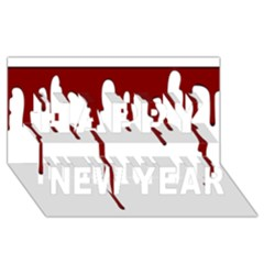 Blood Splatter 5 Happy New Year 3D Greeting Card (8x4)