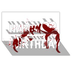 Blood Splatter 6 Happy Birthday 3D Greeting Card (8x4)