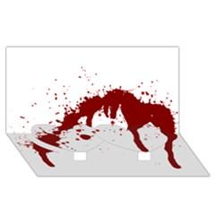 Blood Splatter 6 Twin Heart Bottom 3D Greeting Card (8x4)