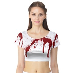 Blood Splatter 6 Short Sleeve Crop Top