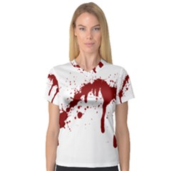 Blood Splatter 6 Women s V-Neck Sport Mesh Tee
