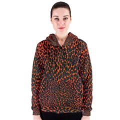 Florescent Leopard Print  Women s Zipper Hoodie