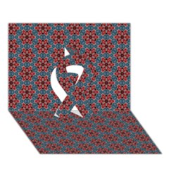 Cute Seamless Tile Pattern Gifts Ribbon 3D Greeting Card (7x5)