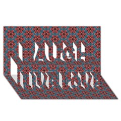 Cute Seamless Tile Pattern Gifts Laugh Live Love 3D Greeting Card (8x4)