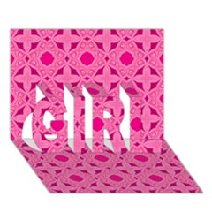 Cute Seamless Tile Pattern Gifts GIRL 3D Greeting Card (7x5)