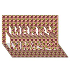 Cute Seamless Tile Pattern Gifts Merry Xmas 3d Greeting Card (8x4)