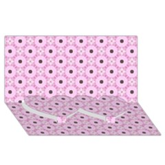 Cute Seamless Tile Pattern Gifts Twin Heart Bottom 3d Greeting Card (8x4)
