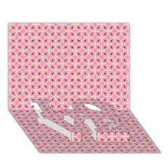 Cute Seamless Tile Pattern Gifts LOVE Bottom 3D Greeting Card (7x5)