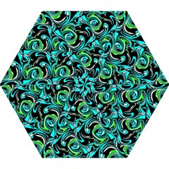Bright Aqua, Black, and Green Design Mini Folding Umbrellas