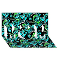 Bright Aqua, Black, and Green Design MOM 3D Greeting Card (8x4)