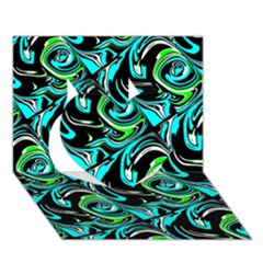 Bright Aqua, Black, and Green Design Heart 3D Greeting Card (7x5)