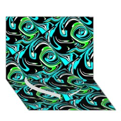 Bright Aqua, Black, And Green Design Heart Bottom 3d Greeting Card (7x5)