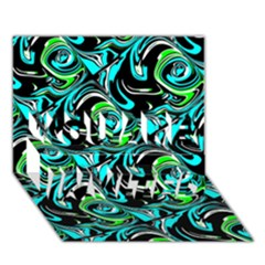 Bright Aqua, Black, and Green Design YOU ARE INVITED 3D Greeting Card (7x5)