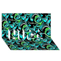 Bright Aqua, Black, and Green Design HUGS 3D Greeting Card (8x4)