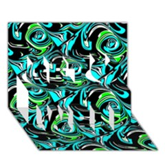 Bright Aqua, Black, and Green Design Get Well 3D Greeting Card (7x5)