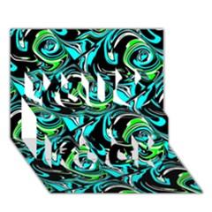 Bright Aqua, Black, and Green Design You Rock 3D Greeting Card (7x5)
