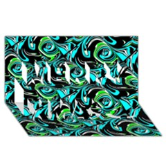 Bright Aqua, Black, And Green Design Merry Xmas 3d Greeting Card (8x4)
