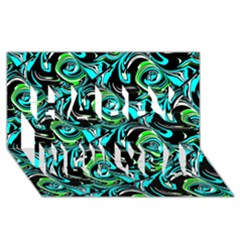Bright Aqua, Black, and Green Design Happy New Year 3D Greeting Card (8x4)